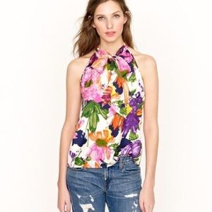 J. Crew Floral Silk Halter Top with front bow tie